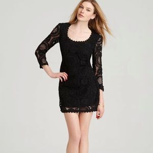 French Connection Black Long Sleeve Lace Dress